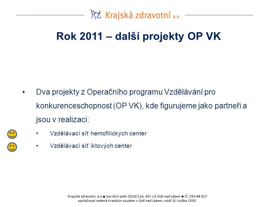 Rok 2011 – další projekty OP VK Dva projekty z Operačního programu Vzdělávání pro konkurenceschopnost (OP VK), kde figurujeme jako partneři a jsou v realizaci: Vzdělávací síť hemofilických center Vzdělávací síť iktových center