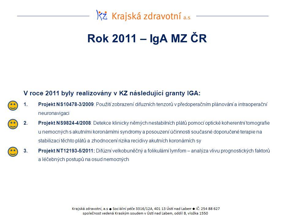 Rok 2011 – IgA MZ ČR V roce 2011 byly realizovány v KZ následující granty IGA: 1.Projekt NS10478-3/2009: Použití zobrazení difuzních tenzorů v předoperačním plánování a intraoperační neuronavigaci 2.Projekt NS9824-4/2008: Detekce klinicky němých nestabilních plátů pomocí optické koherentní tomografie u nemocných s akutními koronárními syndromy a posouzení účinnosti současné doporučené terapie na stabilizaci těchto plátů a zhodnocení rizika recidivy akutních koronárních sy 3.Projekt NT12193-5/2011: Difúzní velkobuněčný a folikulární lymfom – analýza vlivu prognostických faktorů a léčebných postupů na osud nemocných