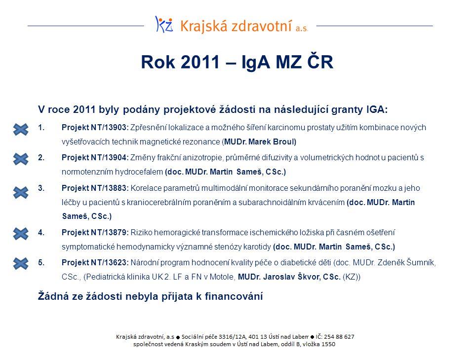 Rok 2011 – IgA MZ ČR V roce 2011 byly podány projektové žádosti na následující granty IGA: 1.Projekt NT/13903: Zpřesnění lokalizace a možného šíření karcinomu prostaty užitím kombinace nových vyšetřovacích technik magnetické rezonance (MUDr.
