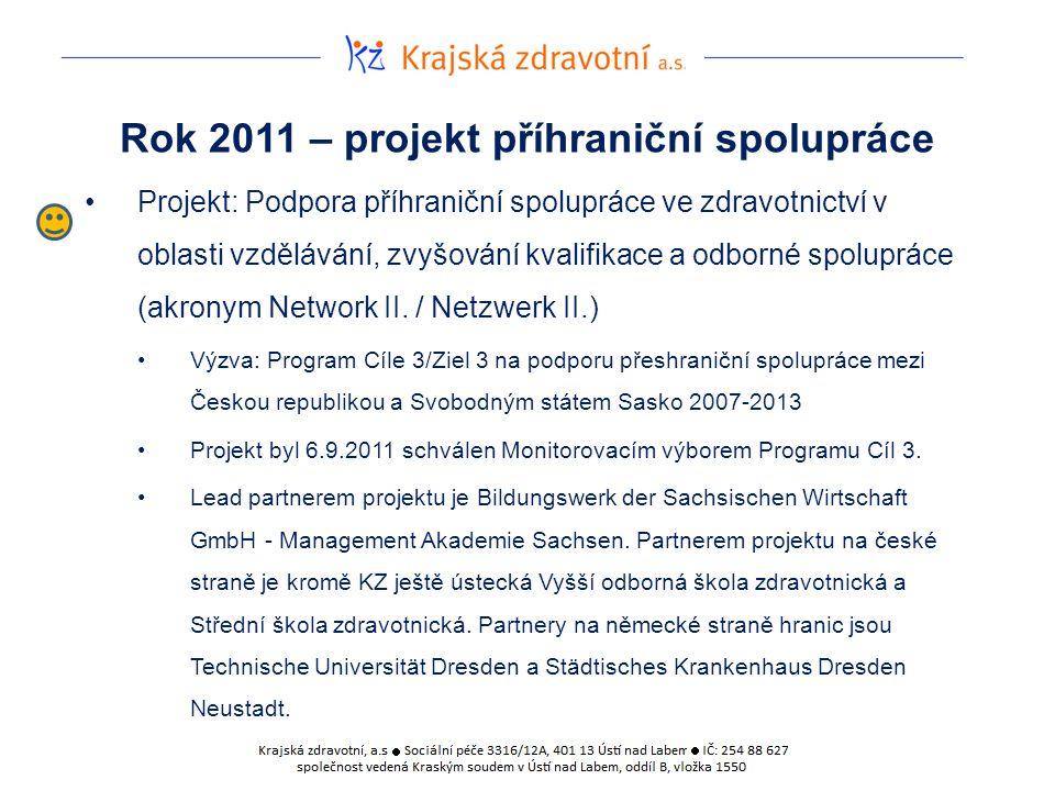 Rok 2011 – projekt příhraniční spolupráce Projekt: Podpora příhraniční spolupráce ve zdravotnictví v oblasti vzdělávání, zvyšování kvalifikace a odborné spolupráce (akronym Network II.