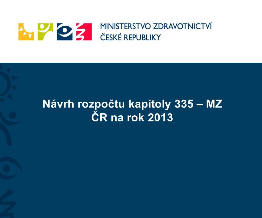 Návrh rozpočtu kapitoly 335 – MZ ČR na rok 2013