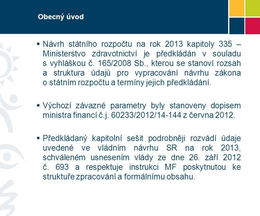 Obecný úvod  Návrh státního rozpočtu na rok 2013 kapitoly 335 – Ministerstvo zdravotnictví je předkládán v souladu s vyhláškou č. 165/2008 Sb., ktero