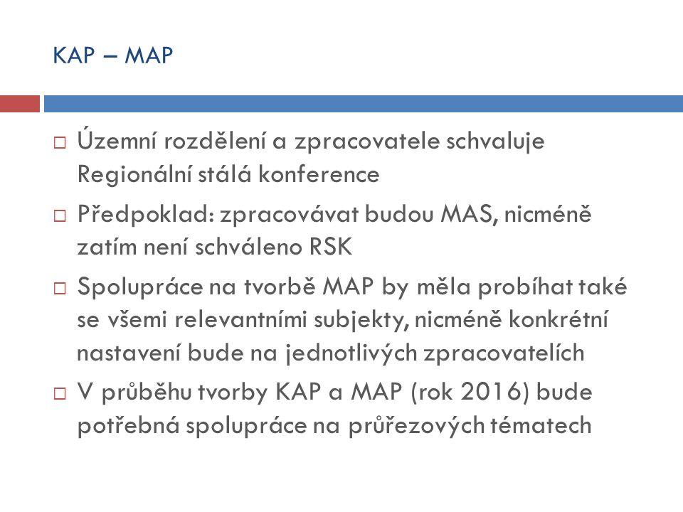 KAP – MAP  Územní rozdělení a zpracovatele schvaluje Regionální stálá konference  Předpoklad: zpracovávat budou MAS, nicméně zatím není schváleno RSK  Spolupráce na tvorbě MAP by měla probíhat také se všemi relevantními subjekty, nicméně konkrétní nastavení bude na jednotlivých zpracovatelích  V průběhu tvorby KAP a MAP (rok 2016) bude potřebná spolupráce na průřezových tématech