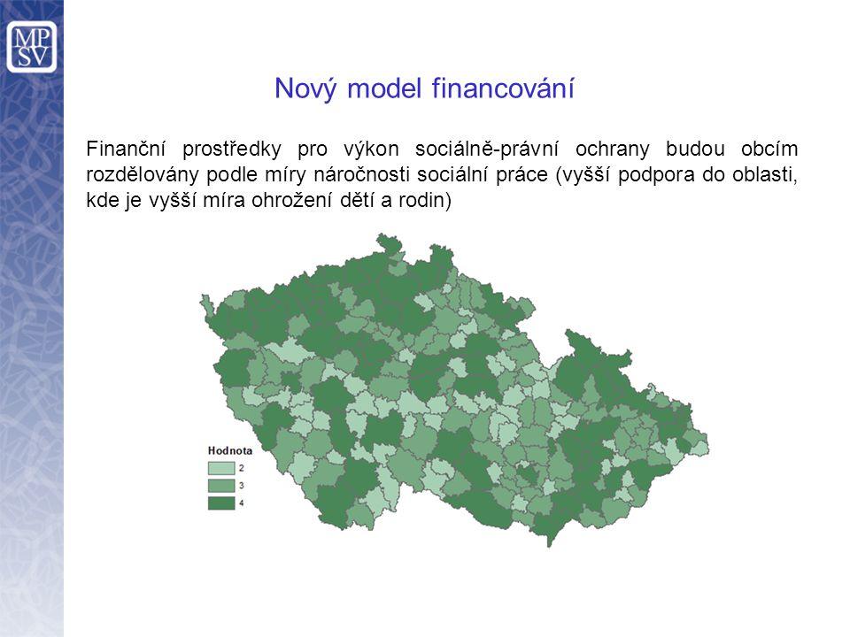 Nový model financování Finanční prostředky pro výkon sociálně-právní ochrany budou obcím rozdělovány podle míry náročnosti sociální práce (vyšší podpora do oblasti, kde je vyšší míra ohrožení dětí a rodin)