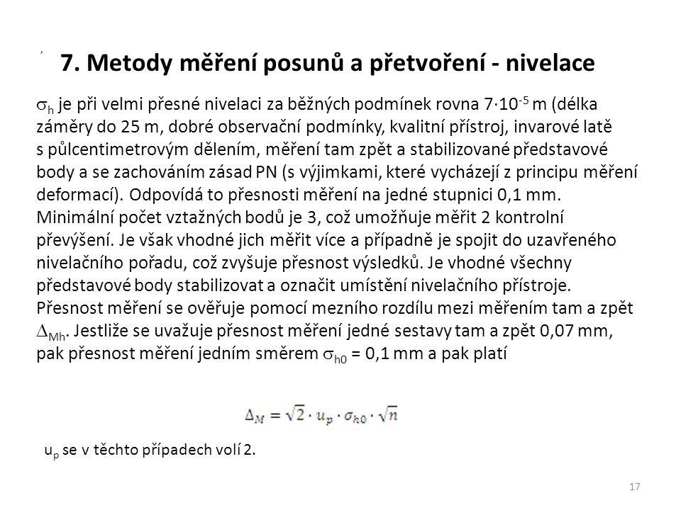 7. Metody měření posunů a přetvoření - nivelace  h je při velmi přesné nivelaci za běžných podmínek rovna 7∙10 -5 m (délka záměry do 25 m, dobré obse
