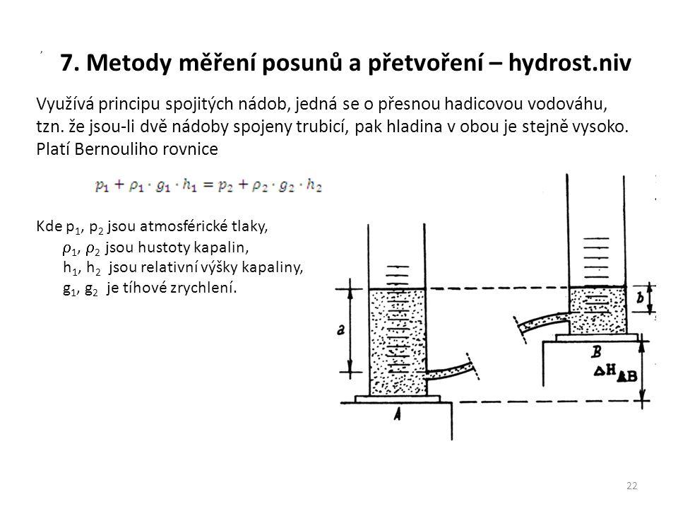 7. Metody měření posunů a přetvoření – hydrost.niv 22, Využívá principu spojitých nádob, jedná se o přesnou hadicovou vodováhu, tzn. že jsou-li dvě ná