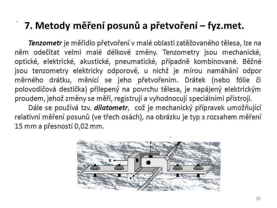 7. Metody měření posunů a přetvoření – fyz.met. 30, Tenzometr je měřidlo přetvoření v malé oblasti zatěžovaného tělesa, lze na něm odečítat velmi malé