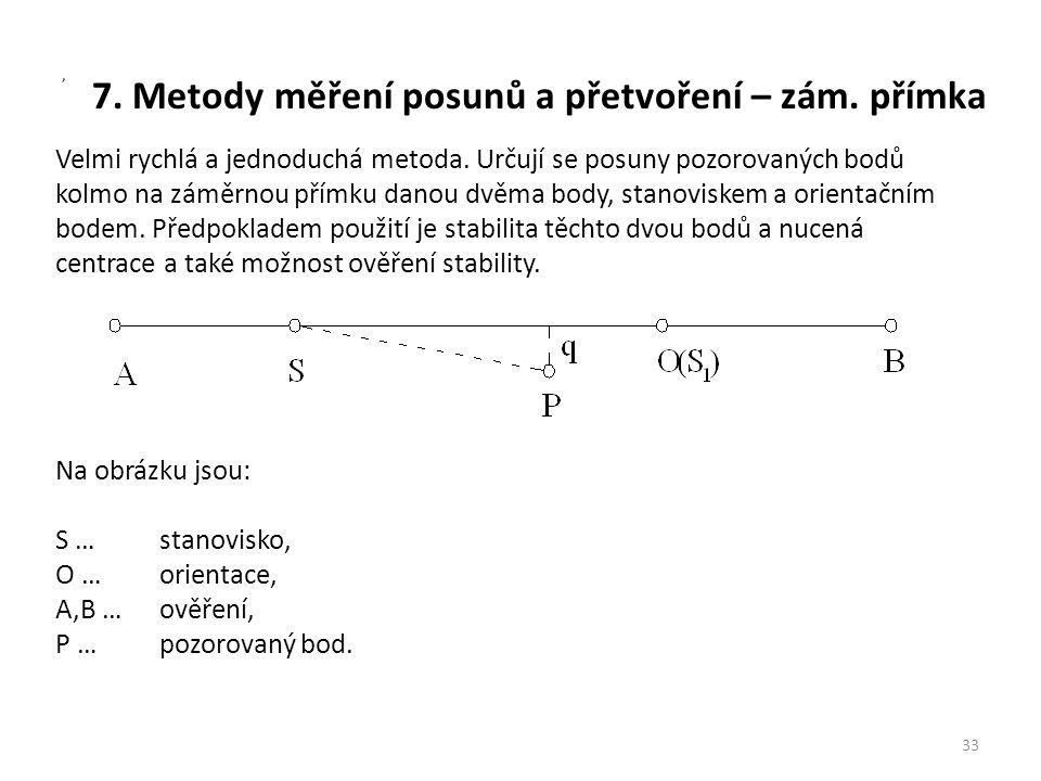 7. Metody měření posunů a přetvoření – zám. přímka 33, Velmi rychlá a jednoduchá metoda. Určují se posuny pozorovaných bodů kolmo na záměrnou přímku d