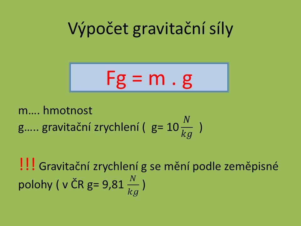 Výpočet gravitační síly Fg = m. g