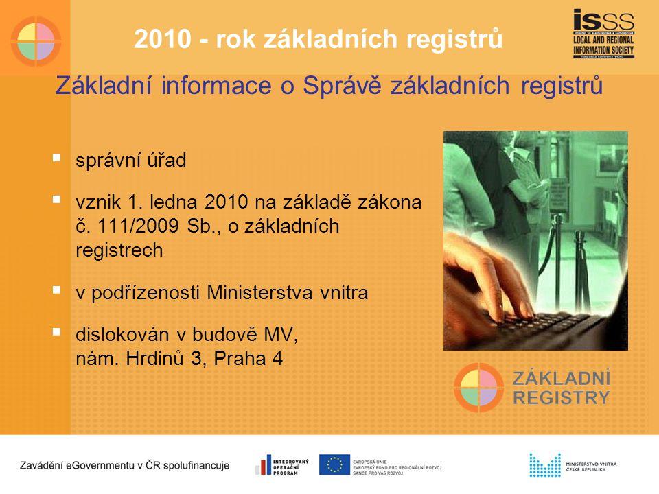 Základní informace o Správě základních registrů  správní úřad  vznik 1.