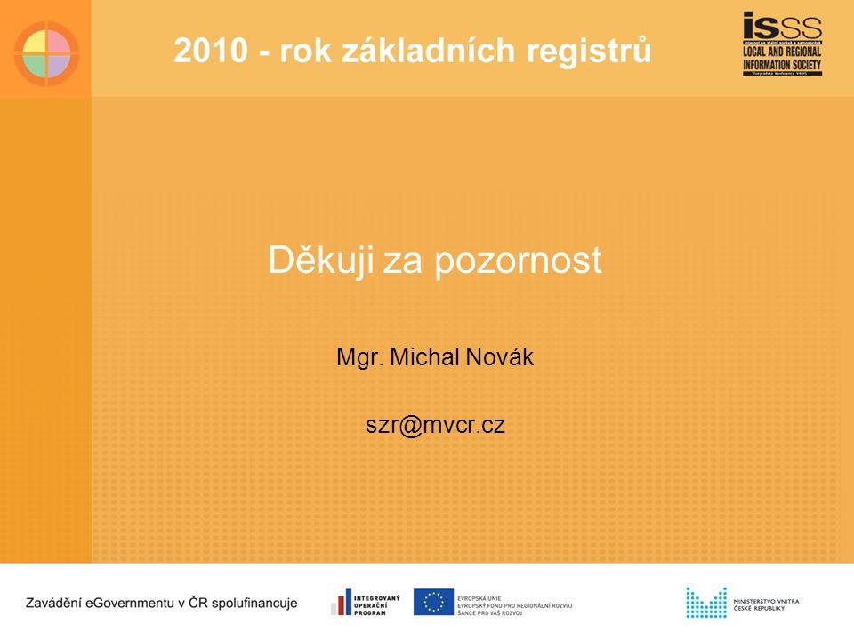 Děkuji za pozornost Mgr. Michal Novák szr@mvcr.cz