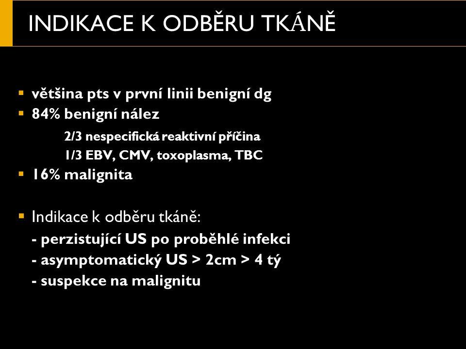INDIKACE K ODBĚRU TK Á NĚ  většina pts v první linii benigní dg  84% benigní nález 2/3 nespecifická reaktivní příčina 1/3 EBV, CMV, toxoplasma, TBC  16% malignita  Indikace k odběru tkáně: - perzistující US po proběhlé infekci - asymptomatický US > 2cm > 4 tý - suspekce na malignitu