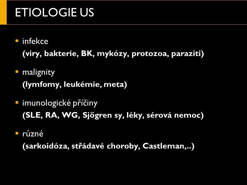 ETIOLOGIE US  infekce (viry, bakterie, BK, mykózy, protozoa, paraziti)  malignity (lymfomy, leukémie, meta)  imunologické příčiny (SLE, RA, WG, Sjögren sy, léky, sérová nemoc)  různé (sarkoidóza, střádavé choroby, Castleman,..)