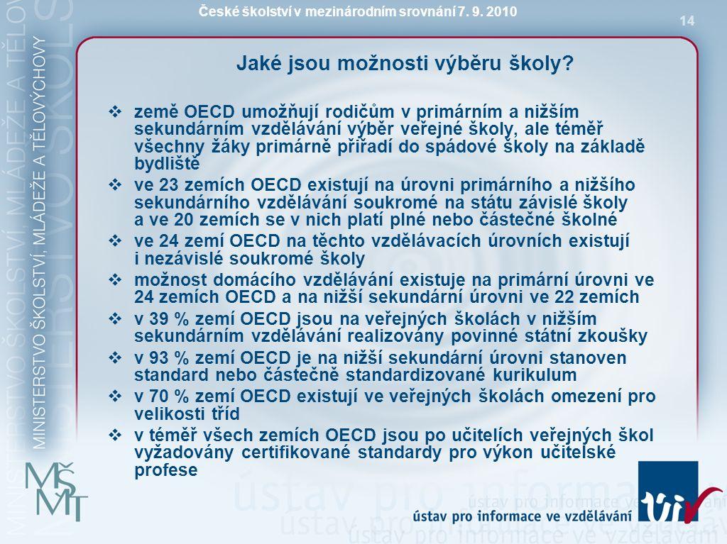České školství v mezinárodním srovnání 7. 9. 2010 14 Jaké jsou možnosti výběru školy?  země OECD umožňují rodičům v primárním a nižším sekundárním vz