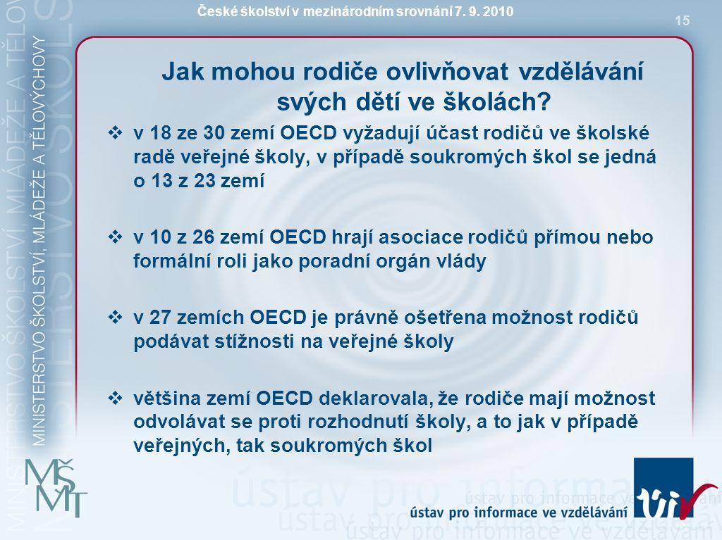 České školství v mezinárodním srovnání 7. 9. 2010 15 Jak mohou rodiče ovlivňovat vzdělávání svých dětí ve školách?  v 18 ze 30 zemí OECD vyžadují úča