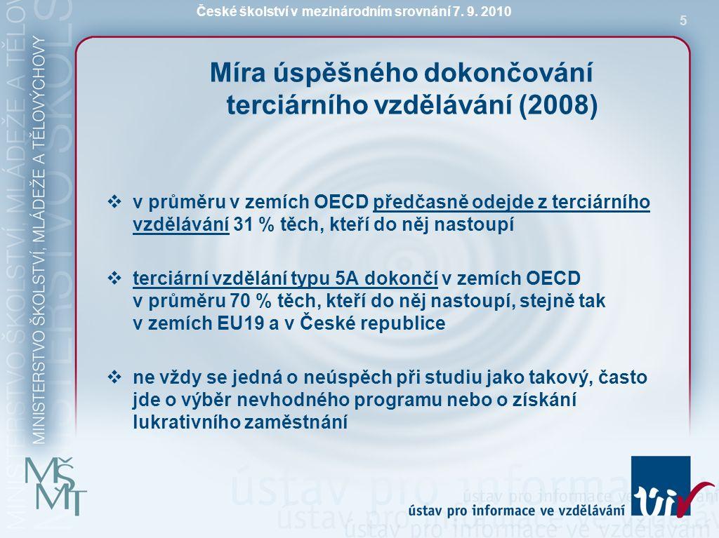 České školství v mezinárodním srovnání 7. 9. 2010 5 Míra úspěšného dokončování terciárního vzdělávání (2008)  v průměru v zemích OECD předčasně odejd