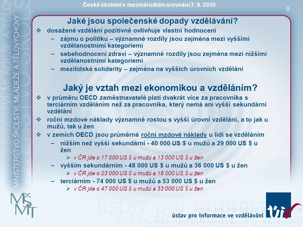 České školství v mezinárodním srovnání 7. 9. 2010 8 Jaké jsou společenské dopady vzdělávání?  dosažené vzdělání pozitivně ovlivňuje vlastní hodnocení