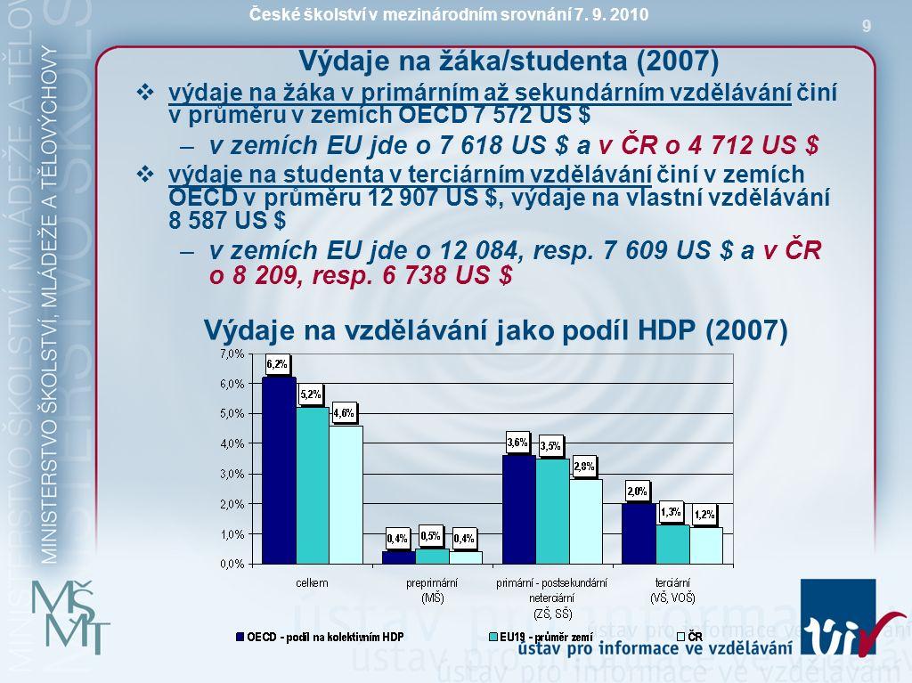 České školství v mezinárodním srovnání 7. 9. 2010 9 Výdaje na žáka/studenta (2007)  výdaje na žáka v primárním až sekundárním vzdělávání činí v průmě