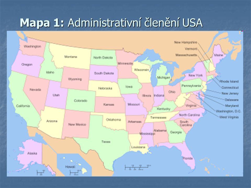 Mapa 1: Administrativní členění USA