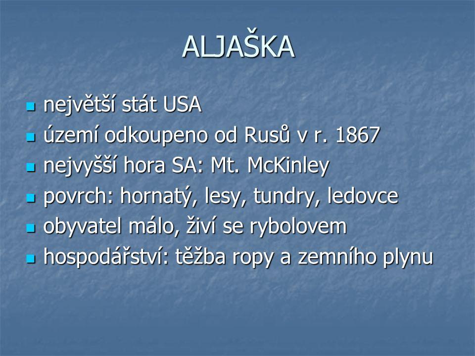Obr. 1: Aljaška Obr. 2: Srovnání velikosti rozlohy Aljašky s ostatními státy USA