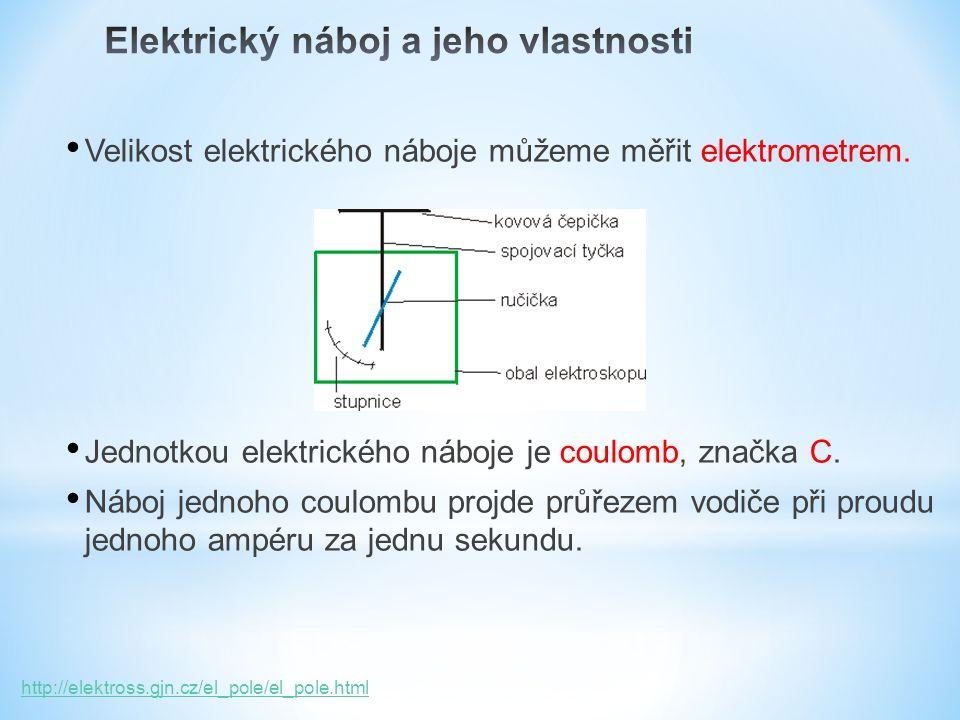 Velikost elektrického náboje můžeme měřit elektrometrem.