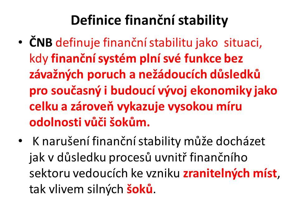 Definice finanční stability ČNB definuje finanční stabilitu jako situaci, kdy finanční systém plní své funkce bez závažných poruch a nežádoucích důsle