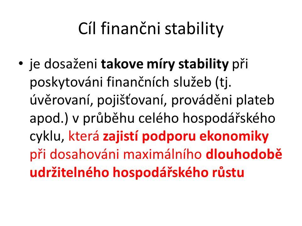 Cíl finančni stability je dosaženi takove míry stability při poskytováni finančních služeb (tj. úvěrovaní, pojišťovaní, prováděni plateb apod.) v průb
