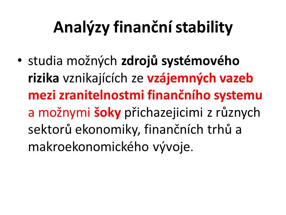 Analýzy finanční stability studia možných zdrojů systémového rizika vznikajících ze vzájemných vazeb mezi zranitelnostmi finančního systemu a možnymi šoky přichazejicimi z různych sektorů ekonomiky, finančních trhů a makroekonomického vývoje.