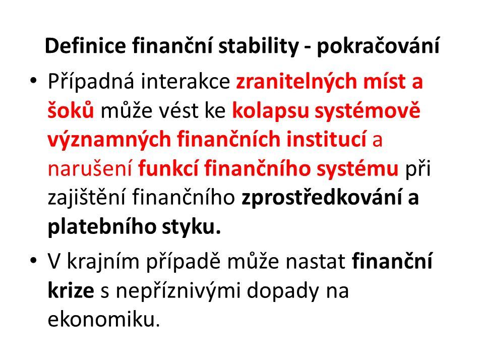 Definice finanční stability - pokračování Případná interakce zranitelných míst a šoků může vést ke kolapsu systémově významných finančních institucí a narušení funkcí finančního systému při zajištění finančního zprostředkování a platebního styku.