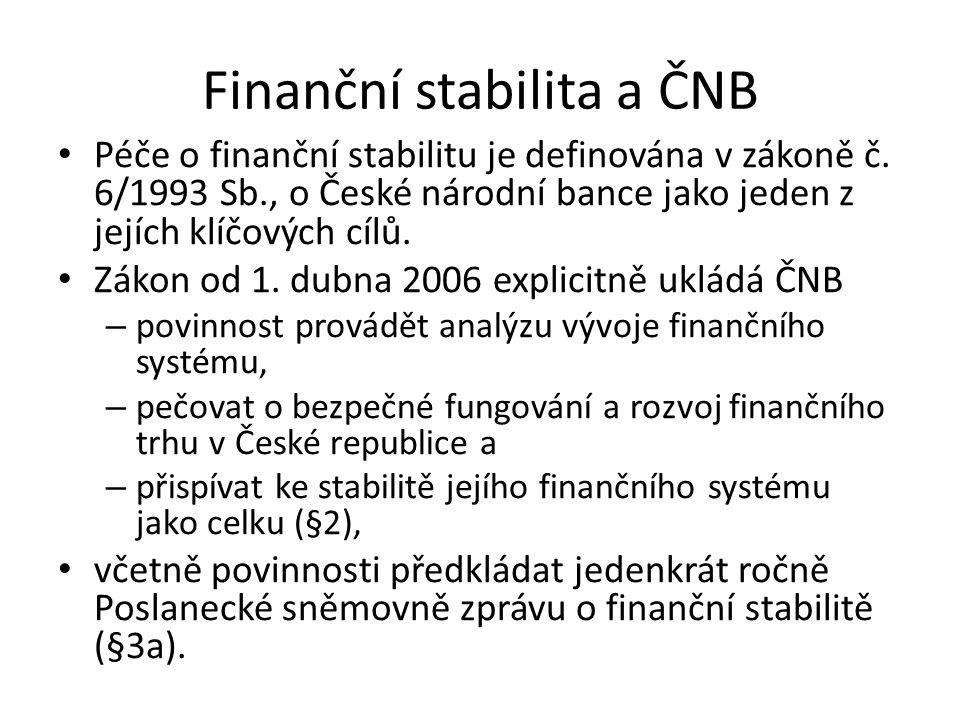 Finanční stabilita a ČNB Péče o finanční stabilitu je definována v zákoně č. 6/1993 Sb., o České národní bance jako jeden z jejích klíčových cílů. Zák
