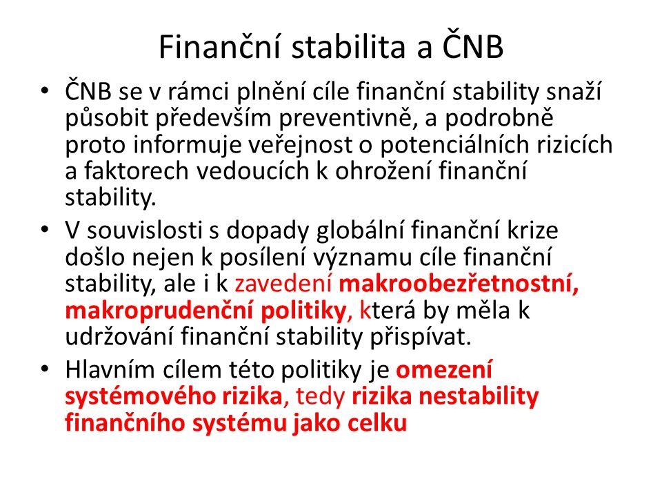 Finanční stabilita a ČNB ČNB se v rámci plnění cíle finanční stability snaží působit především preventivně, a podrobně proto informuje veřejnost o potenciálních rizicích a faktorech vedoucích k ohrožení finanční stability.