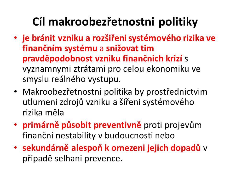 Cíl makroobezřetnostni politiky je bránit vzniku a rozšiřeni systémového rizika ve finančním systému a snižovat tim pravděpodobnost vzniku finančnich krizí s vyznamnymi ztrátami pro celou ekonomiku ve smyslu reálného vystupu.