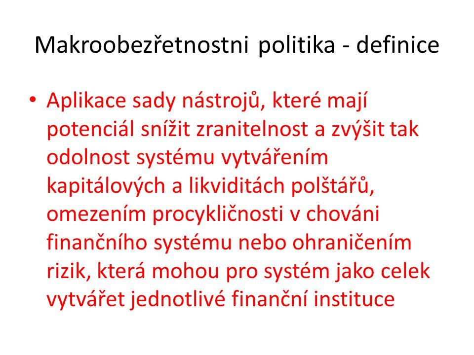 Makroobezřetnostni politika - definice Aplikace sady nástrojů, které mají potenciál snížit zranitelnost a zvýšit tak odolnost systému vytvářením kapitálových a likviditách polštářů, omezením procykličnosti v chováni finančního systému nebo ohraničením rizik, která mohou pro systém jako celek vytvářet jednotlivé finanční instituce