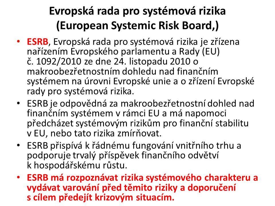 Evropská rada pro systémová rizika (European Systemic Risk Board,) ESRB, Evropská rada pro systémová rizika je zřízena nařízením Evropského parlamentu