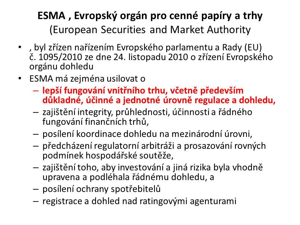 ESMA, Evropský orgán pro cenné papíry a trhy (European Securities and Market Authority, byl zřízen nařízením Evropského parlamentu a Rady (EU) č.