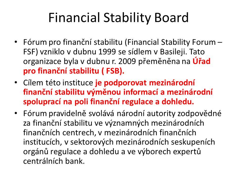 Financial Stability Board Fórum pro finanční stabilitu (Financial Stability Forum – FSF) vzniklo v dubnu 1999 se sídlem v Basileji. Tato organizace by