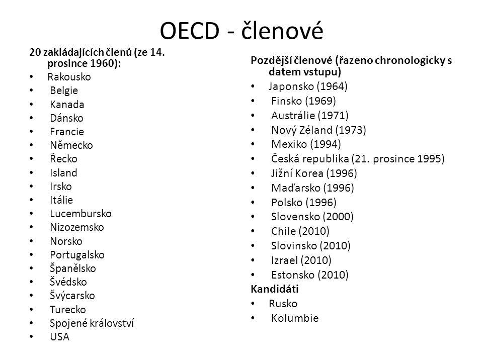 OECD - členové 20 zakládajících členů (ze 14. prosince 1960): Rakousko Belgie Kanada Dánsko Francie Německo Řecko Island Irsko Itálie Lucembursko Nizo