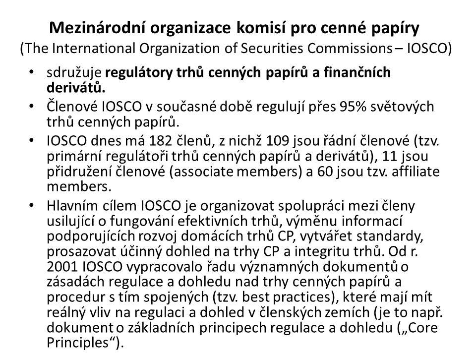 Mezinárodní organizace komisí pro cenné papíry (The International Organization of Securities Commissions – IOSCO) sdružuje regulátory trhů cenných pap