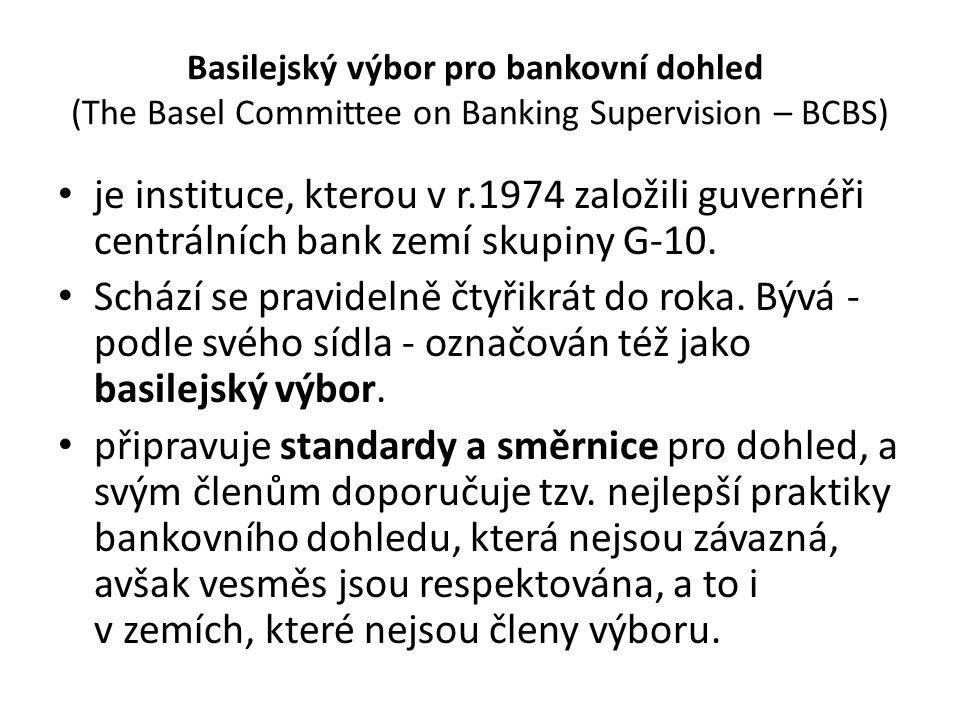 Basilejský výbor pro bankovní dohled (The Basel Committee on Banking Supervision – BCBS) je instituce, kterou v r.1974 založili guvernéři centrálních