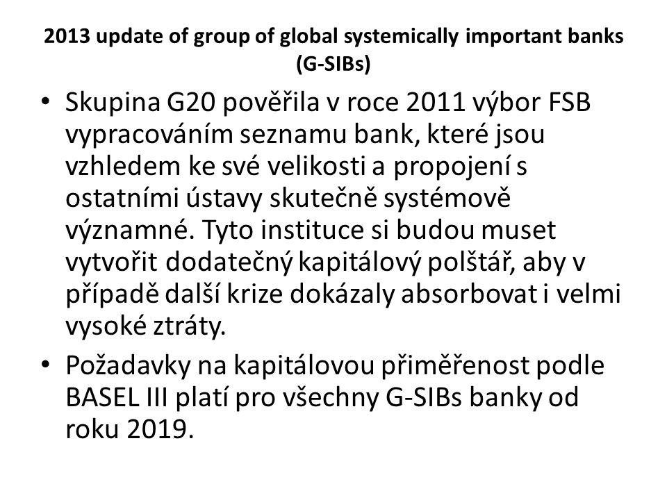2013 update of group of global systemically important banks (G-SIBs) Skupina G20 pověřila v roce 2011 výbor FSB vypracováním seznamu bank, které jsou vzhledem ke své velikosti a propojení s ostatními ústavy skutečně systémově významné.