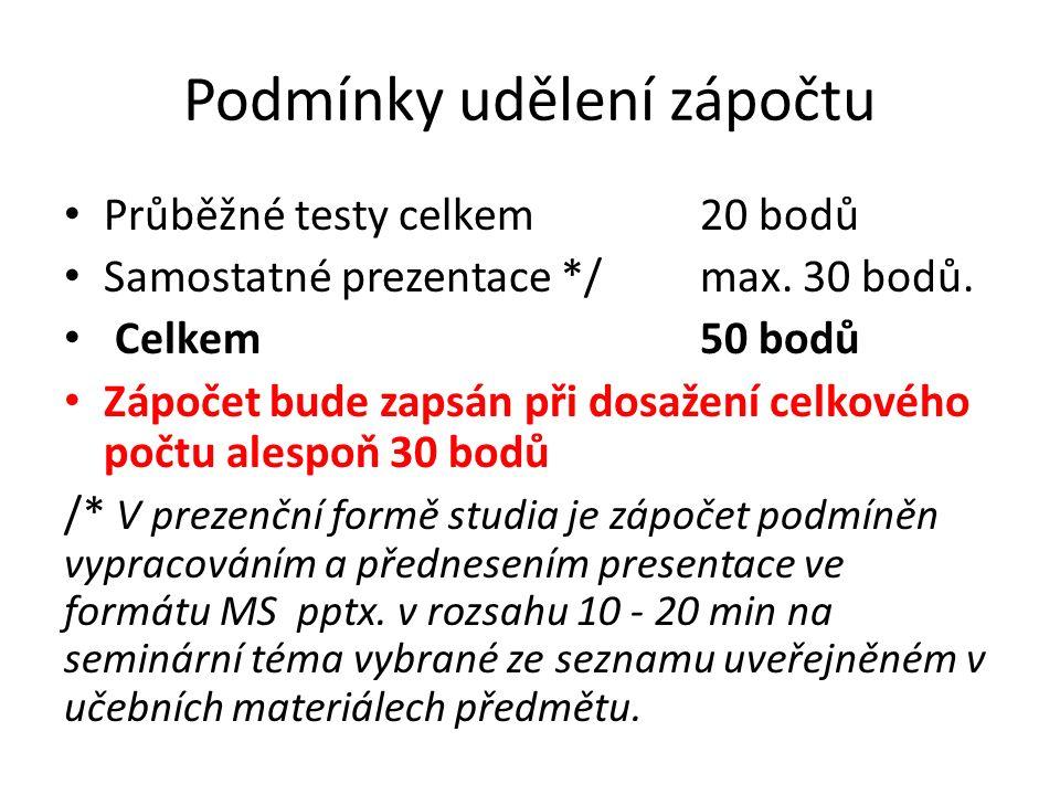 Podmínky udělení zápočtu Průběžné testy celkem20 bodů Samostatné prezentace */max. 30 bodů. Celkem50 bodů Zápočet bude zapsán při dosažení celkového p
