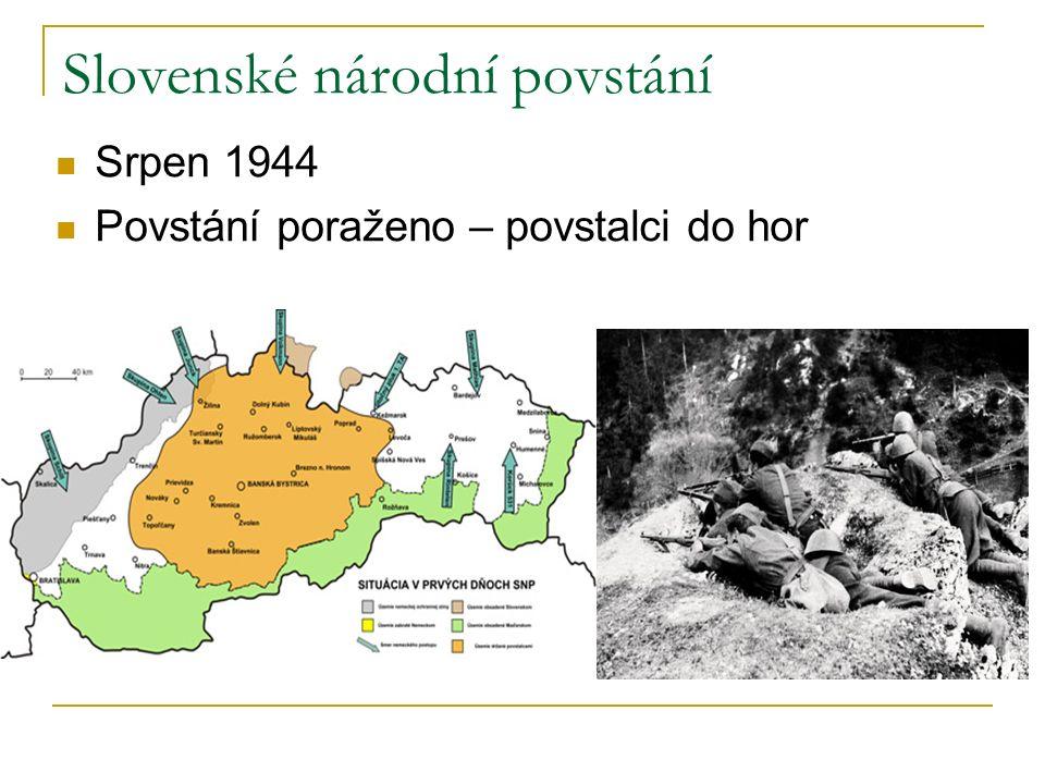 Slovenské národní povstání Srpen 1944 Povstání poraženo – povstalci do hor