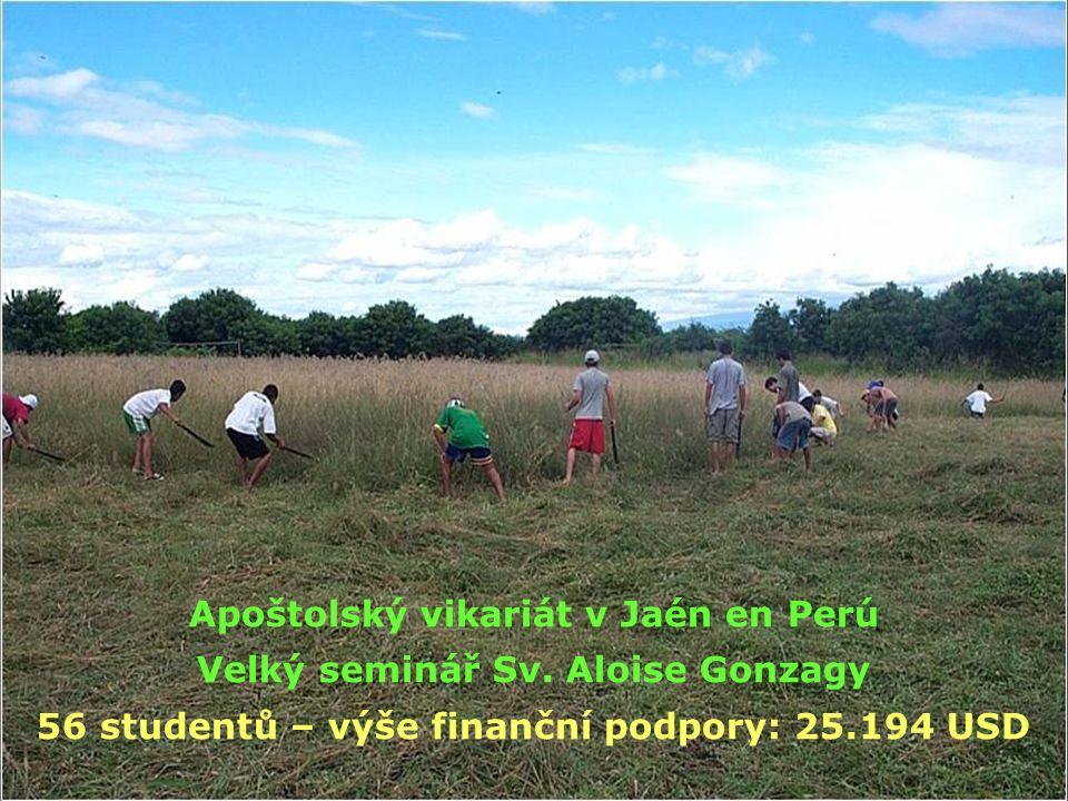 Apoštolský vikariát v Jaén en Perú Velký seminář Sv. Aloise Gonzagy 56 studentů – výše finanční podpory: 25.194 USD