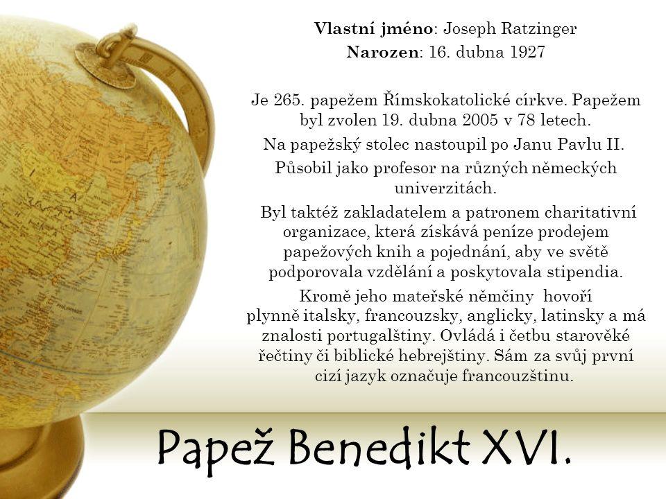 Papežský znak Benedikta XVI. Papež Benedikt XVI. Obr.2,3