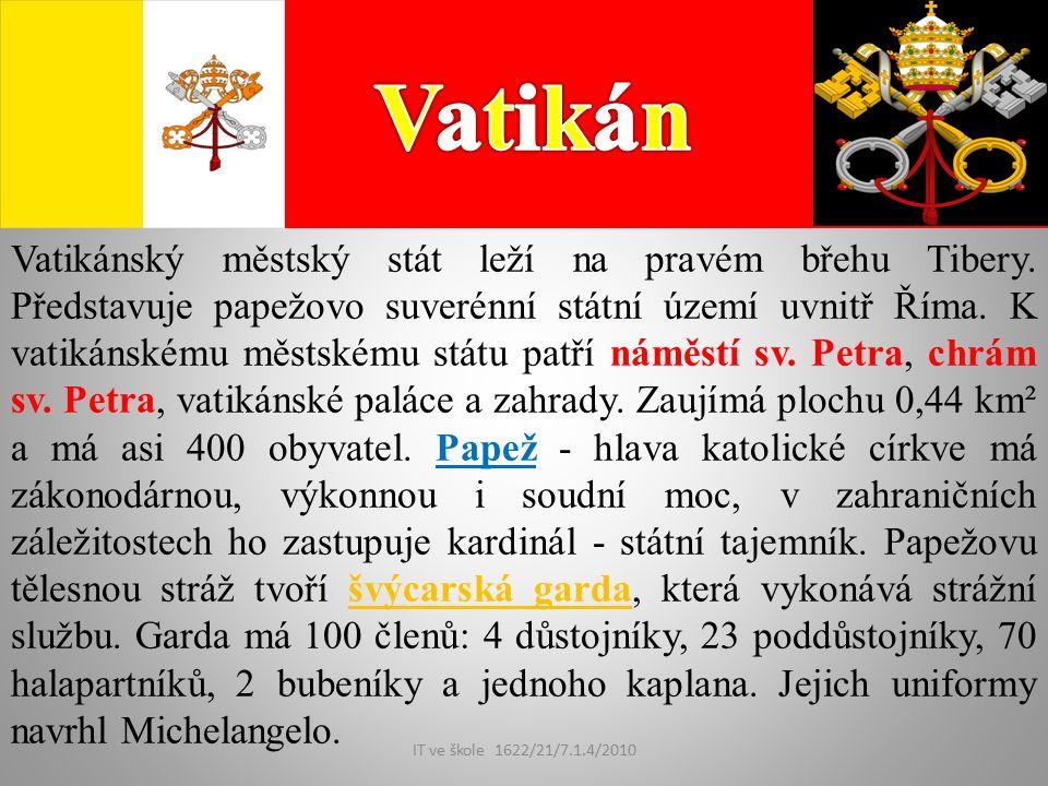 IT ve škole 1622/21/7.1.4/2010 Vatikánský městský stát leží na pravém břehu Tibery.
