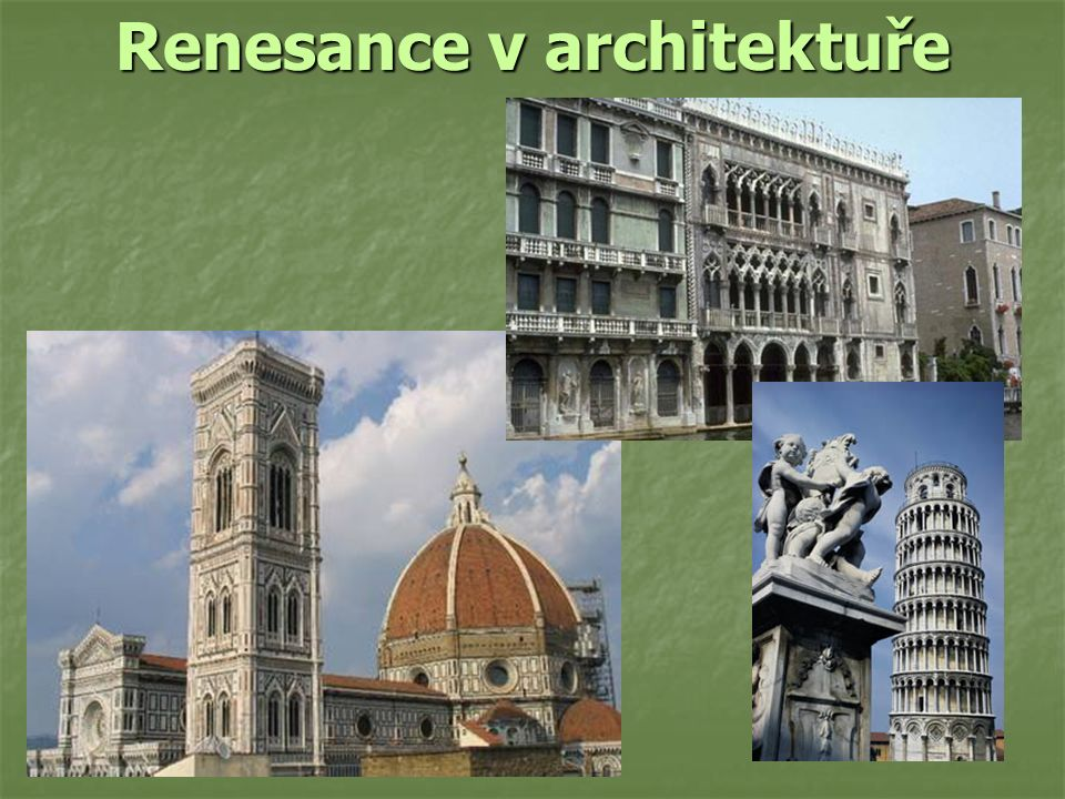 Charakteristika na první pohled se liší od gotické na první pohled se liší od gotické nestaví se do výšky ale do šířky nestaví se do výšky ale do šířky lomený oblouk je vystřídán půlkruhovým lomený oblouk je vystřídán půlkruhovým zdobené římsy a arkády zdobené římsy a arkády chrámy s půlkruhovým půdorysem chrámy s půlkruhovým půdorysem staví se paláce a vily se zahradami staví se paláce a vily se zahradami