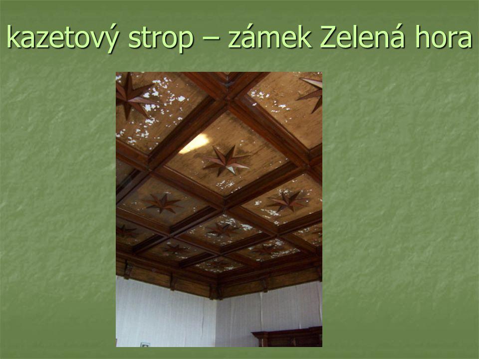 kazetový strop – zámek Zelená hora
