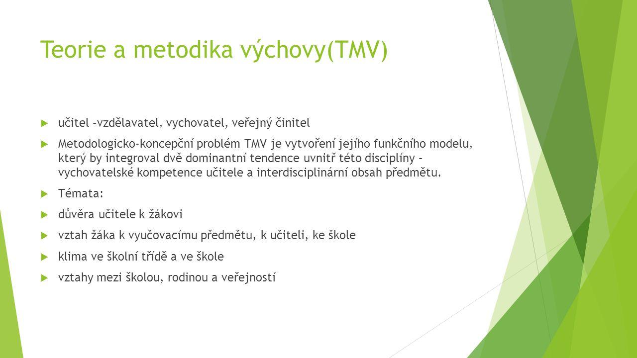 Teorie a metodika výchovy(TMV)  učitel –vzdělavatel, vychovatel, veřejný činitel  Metodologicko-koncepční problém TMV je vytvoření jejího funkčního modelu, který by integroval dvě dominantní tendence uvnitř této disciplíny – vychovatelské kompetence učitele a interdisciplinární obsah předmětu.