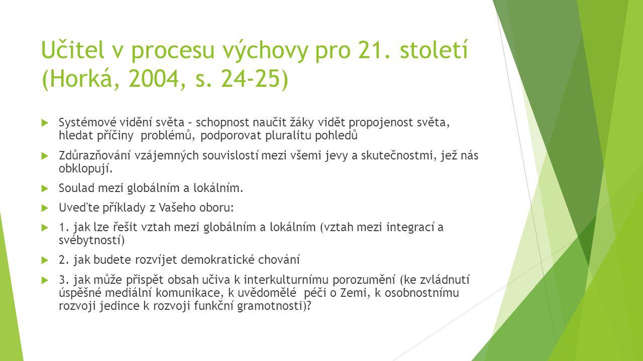 Učitel v procesu výchovy pro 21. století (Horká, 2004, s.