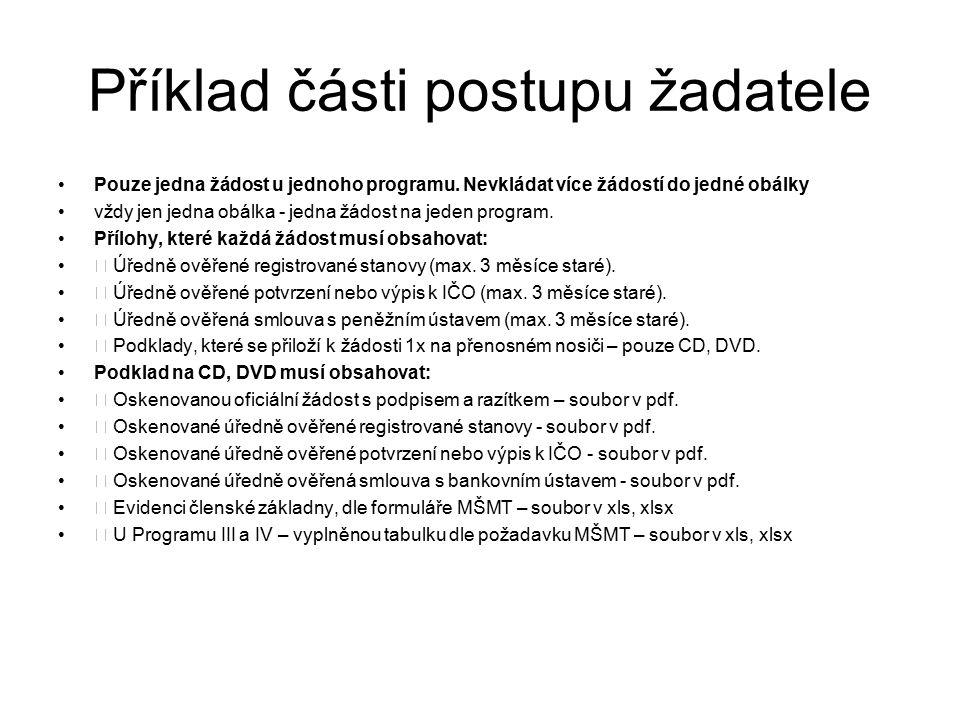 Příklad části postupu žadatele Pouze jedna žádost u jednoho programu.